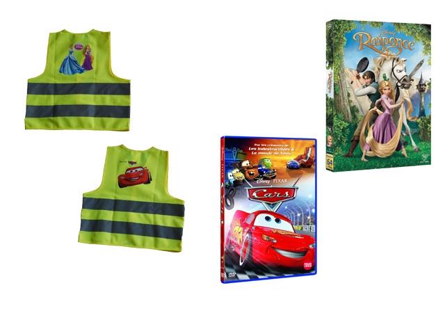 concours, gilet, fluo, sécurité, Disney, cadeau, gratuit, Raiponce, cars, princess