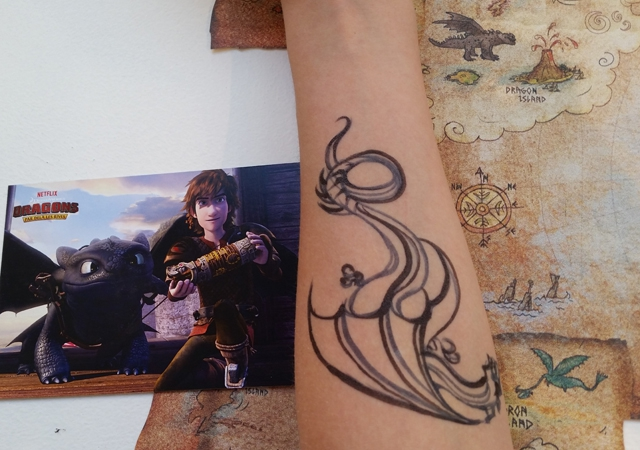 tatouage, dragon, fête