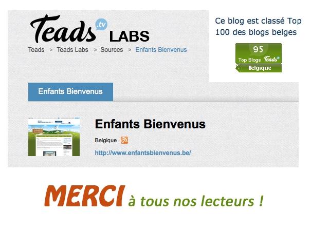 top 100, blogs belges, merci, blogueur belge, blog famille, blog enfant, blog tourisme