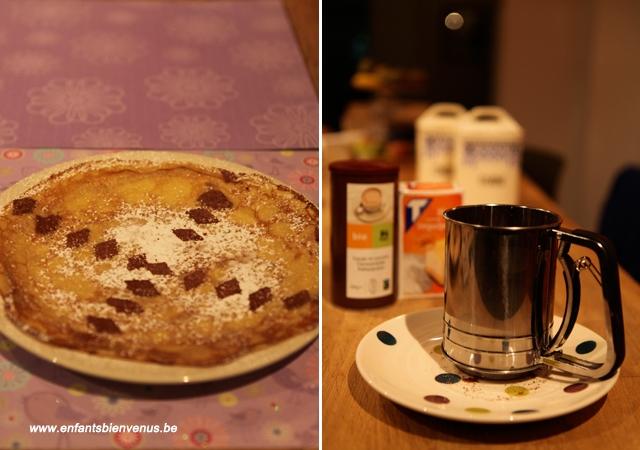 crêpe, cuisine, chandeleur, party, anniversaire, atelier cuisine, Delhaize, sucre, cacao, pochoir